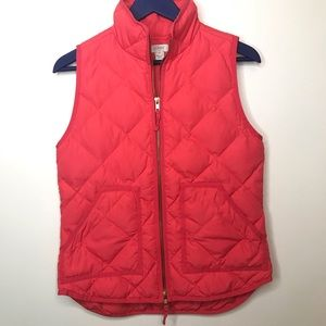 J. Crew coral pink quilted Down puffer vest